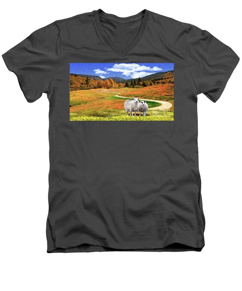Sheep And Road Ver 2 Men's V-Neck T-Shirt