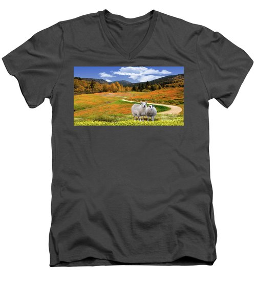 Sheep And Road Ver 3 Men's V-Neck T-Shirt