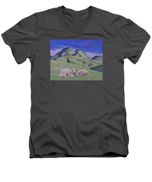 Sheep At Sutter Buttes Men's V-Neck T-Shirt