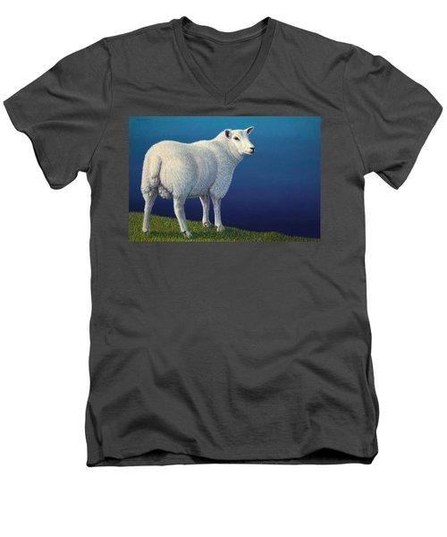 Sheep At The Edge Men's V-Neck T-Shirt by James W Johnson