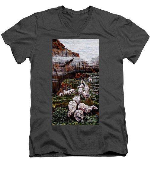 Men's V-Neck T-Shirt featuring the painting Sheep In The Mountains  by Judy Kirouac