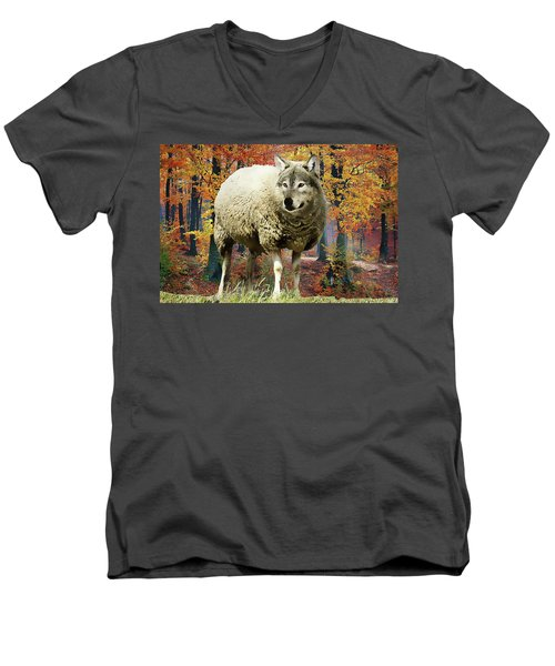 Men's V-Neck T-Shirt featuring the painting Sheep's Clothing by Harry Warrick