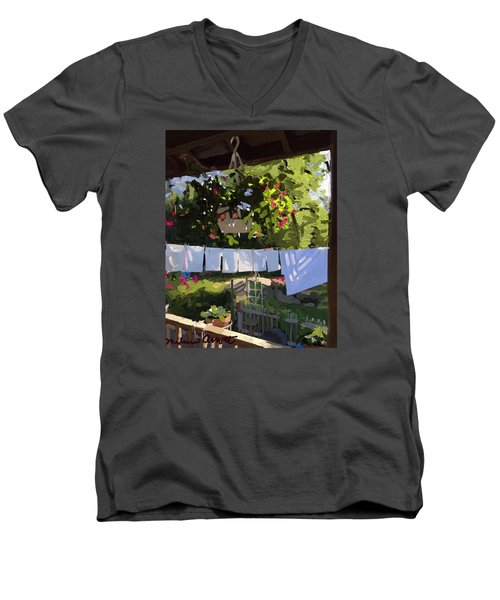 Sheets And Pillow Cases On The Line With Lantana Flowers Men's V-Neck T-Shirt