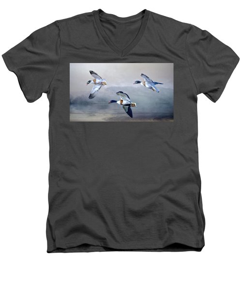 Men's V-Neck T-Shirt featuring the photograph Shelduck Morning. by Brian Tarr