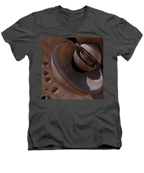 Men's V-Neck T-Shirt featuring the digital art Shell Game by Lyle Hatch