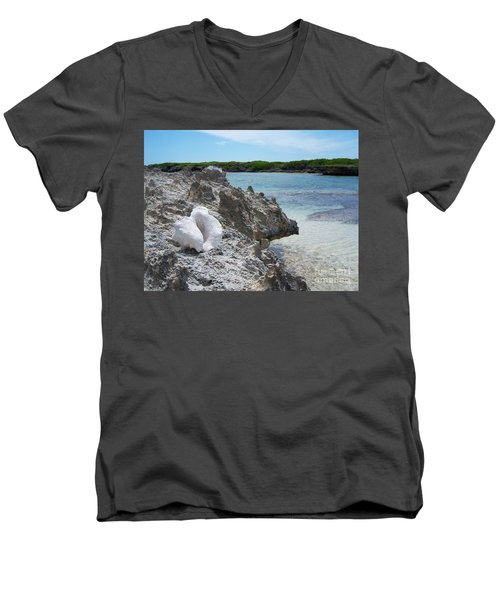 Shell On Dominican Shore Men's V-Neck T-Shirt by Heather Kirk