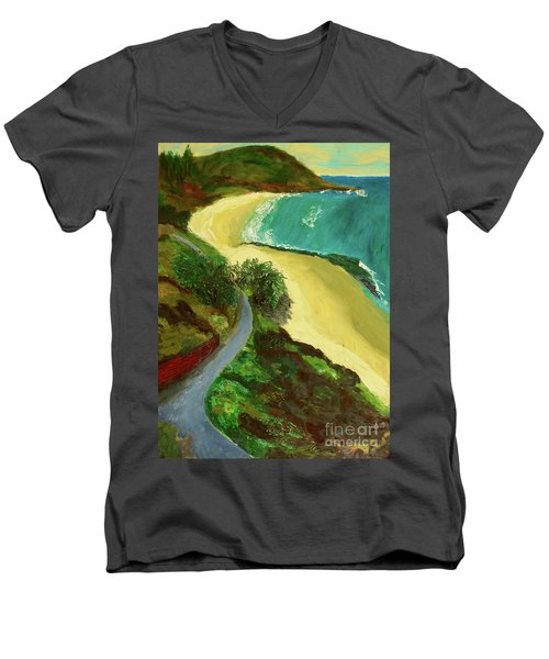 Men's V-Neck T-Shirt featuring the painting Shelly Beach by Paul McKey