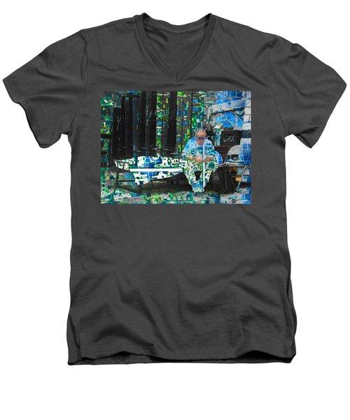 Men's V-Neck T-Shirt featuring the mixed media Shelter by Tony Rubino