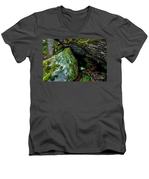 Sheltered By The Rock Men's V-Neck T-Shirt