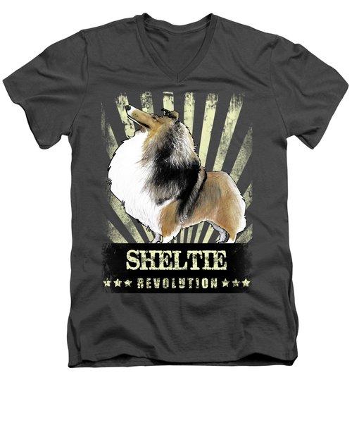 Sheltie Revolution Men's V-Neck T-Shirt