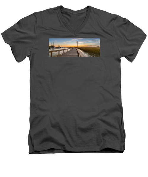 Men's V-Neck T-Shirt featuring the photograph Shem Creek Pier Panoramic by Donnie Whitaker