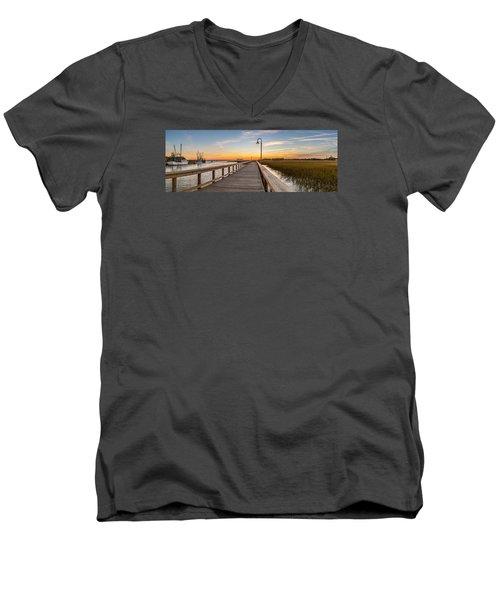 Shem Creek Pier Panoramic Men's V-Neck T-Shirt