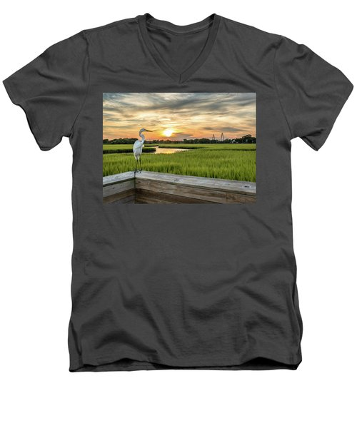 Men's V-Neck T-Shirt featuring the photograph Shem Creek Pier Sunset by Donnie Whitaker
