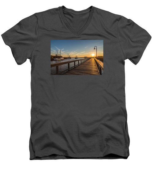 Men's V-Neck T-Shirt featuring the photograph Shem Creek Pier Sunset - Mt. Pleasant Sc by Donnie Whitaker