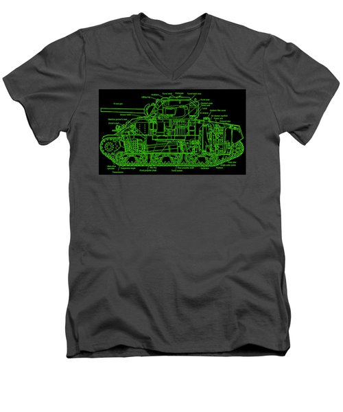 Men's V-Neck T-Shirt featuring the drawing Sherman M4a4 Tank by Robert Geary
