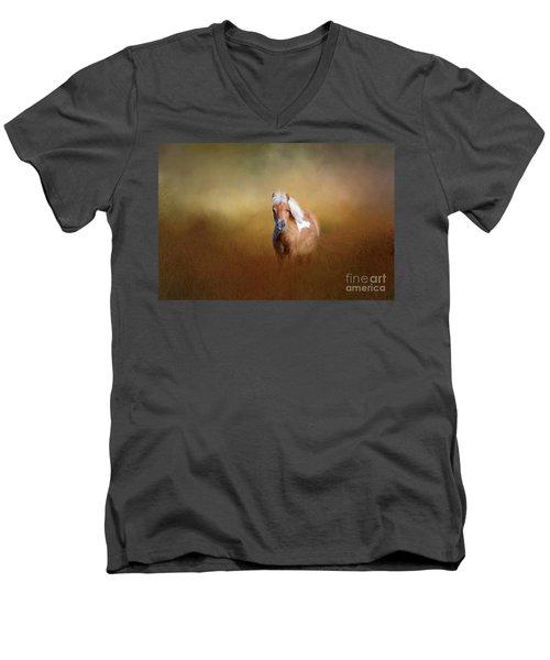 Shetland Pony Men's V-Neck T-Shirt by Marion Johnson