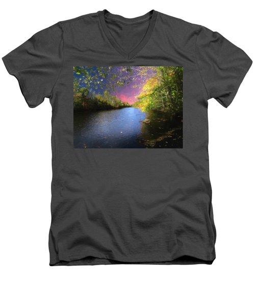 Shetucket River Ct. Men's V-Neck T-Shirt