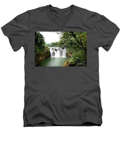 Men's V-Neck T-Shirt featuring the photograph Shifen Waterfall  by Hanza Turgul