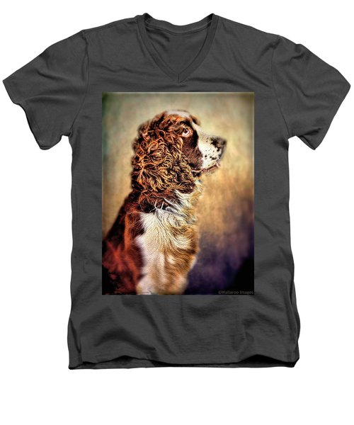 Men's V-Neck T-Shirt featuring the photograph Shiloh, English Springer Spaniel by Wallaroo Images