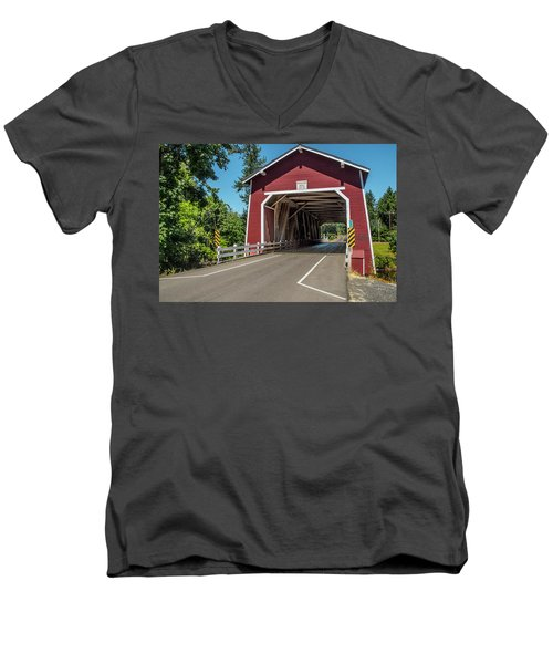Shimanek Covered Bridge Men's V-Neck T-Shirt
