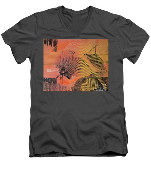 Men's V-Neck T-Shirt featuring the painting Shimmer by Melissa Goodrich