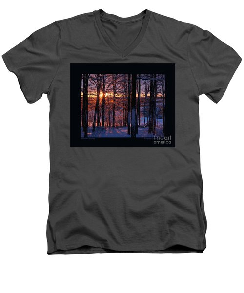 Men's V-Neck T-Shirt featuring the photograph Shimmery Sunrise by Patricia Overmoyer