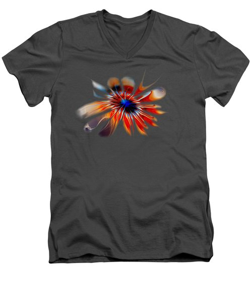 Shining Red Flower Men's V-Neck T-Shirt by Anastasiya Malakhova