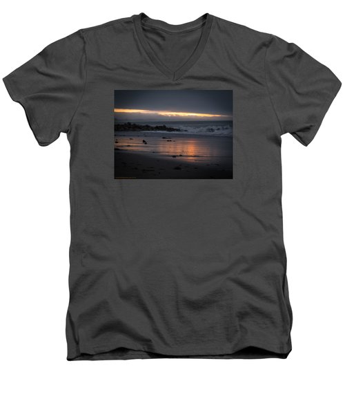 Men's V-Neck T-Shirt featuring the photograph Shining Sand by Lora Lee Chapman