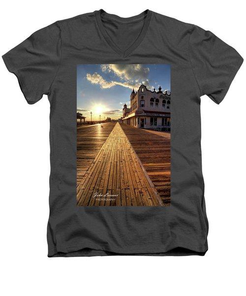 Shining Walkway Men's V-Neck T-Shirt by John Loreaux