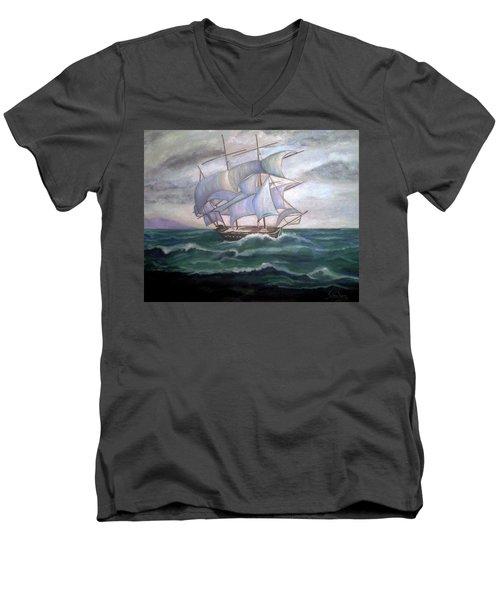 Ship Out To Sea Men's V-Neck T-Shirt by Manuel Sanchez