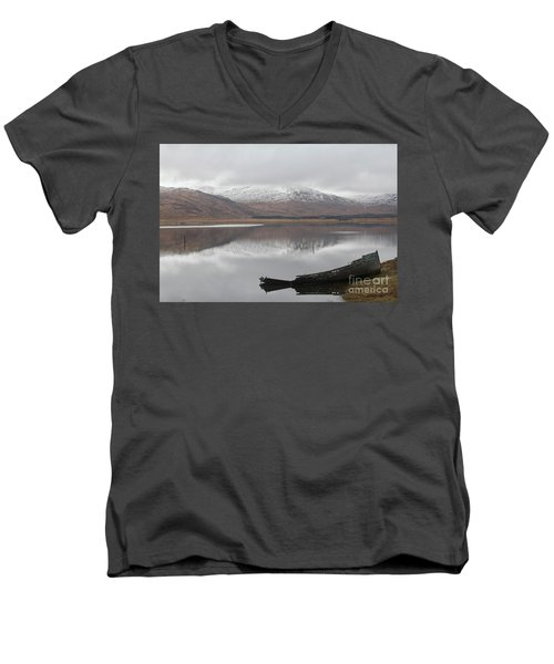 Ship Reck On Isle Of Mull Men's V-Neck T-Shirt