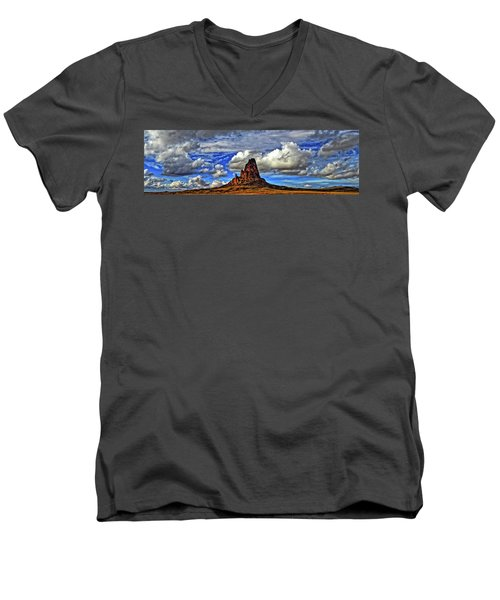 Men's V-Neck T-Shirt featuring the photograph Shiprock Panorama by Scott Mahon