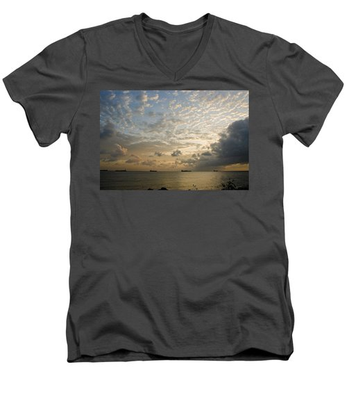 Ships In The Ship Channel.  Men's V-Neck T-Shirt