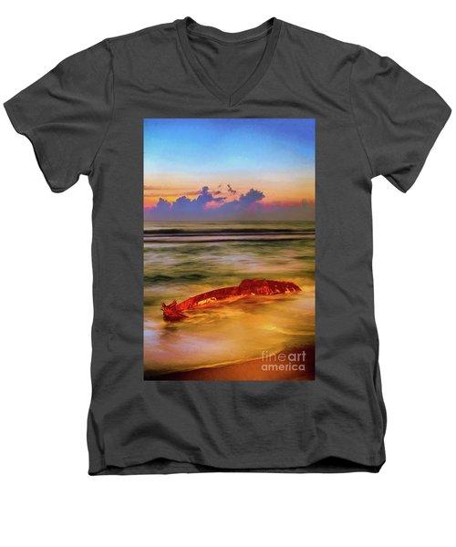 Shipwreck On The Outer Banks The End Ap Men's V-Neck T-Shirt by Dan Carmichael