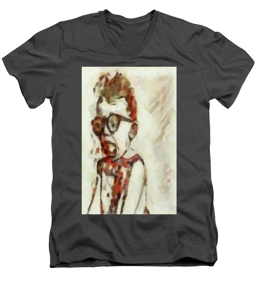 Shocked Scared Screaming Boy With Curly Red Hair In Glasses And Overalls In Acrylic Paint As A Loose Men's V-Neck T-Shirt by MendyZ