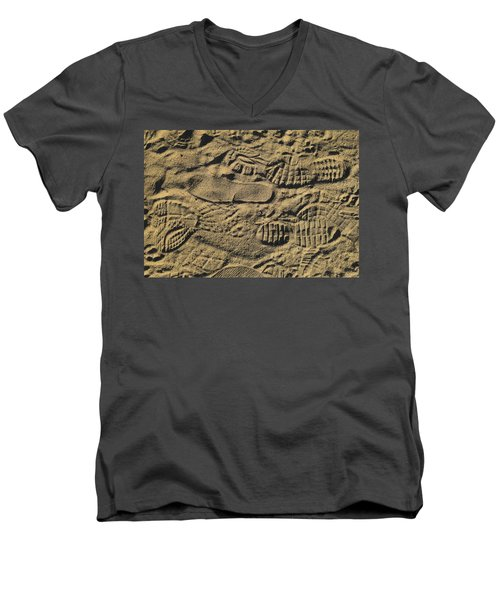 Men's V-Neck T-Shirt featuring the photograph Shoe Prints by R  Allen Swezey