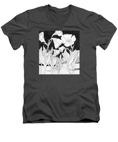Men's V-Neck T-Shirt featuring the painting Shooting The Breeze by Lou Belcher