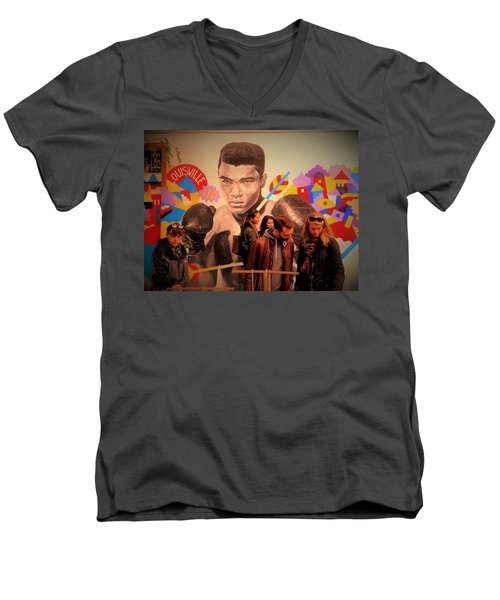 Shopping In Brooklyn With Mohamed Ali Men's V-Neck T-Shirt by Funkpix Photo Hunter