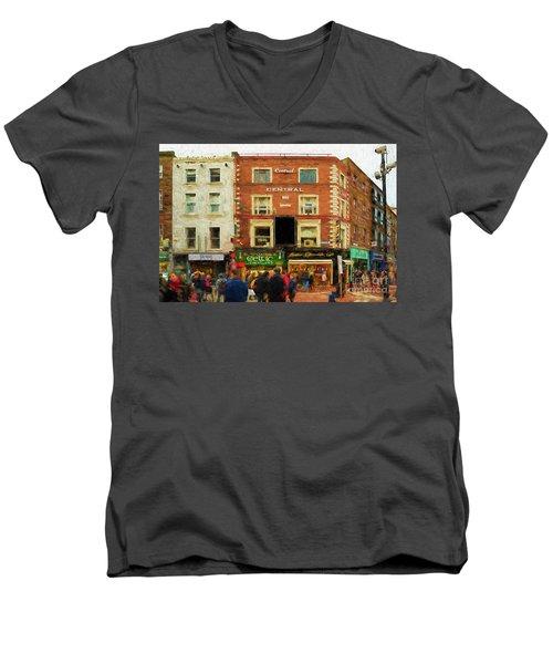 shopping on Grafton Street in Dublin Men's V-Neck T-Shirt