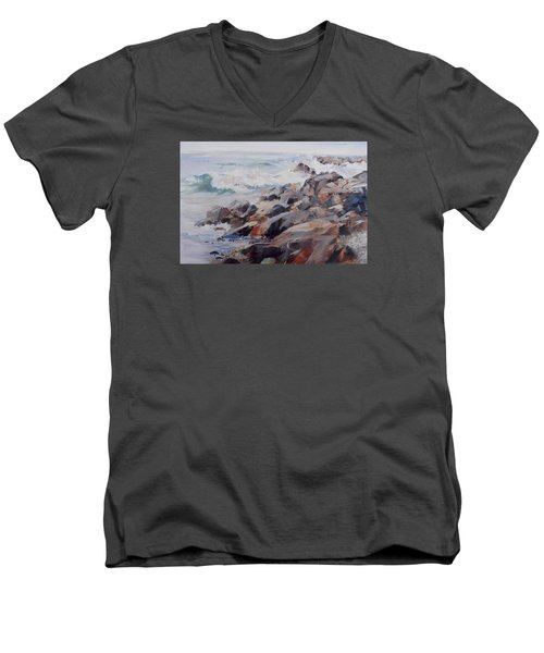 Shore's Rocky Men's V-Neck T-Shirt by P Anthony Visco