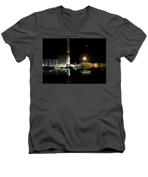 Shoreham Power Station Night Reflection 2 Men's V-Neck T-Shirt by John Topman