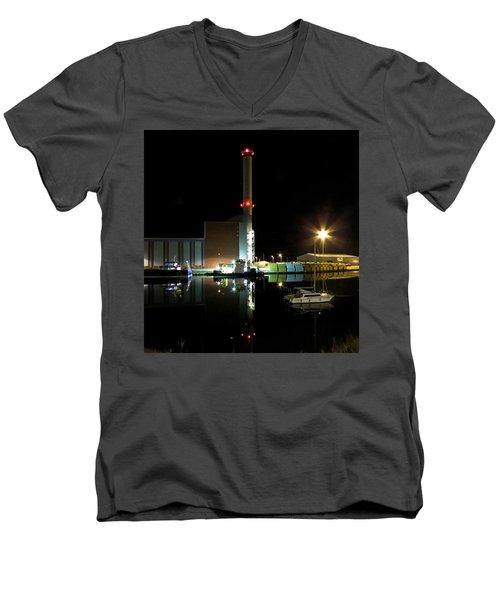 Shoreham Power Station Night Reflection Men's V-Neck T-Shirt