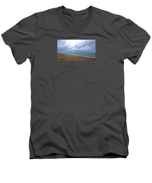 Men's V-Neck T-Shirt featuring the photograph Shoreham Shoreline by Anne Kotan