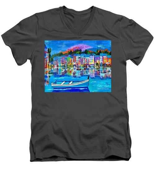 Shores Of Italy Men's V-Neck T-Shirt by Scott D Van Osdol