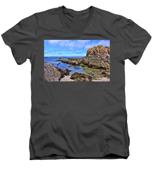 Shores Of Pacific Grove  Men's V-Neck T-Shirt by Gina Savage