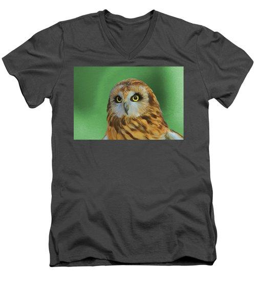 Short Eared Owl On Green Men's V-Neck T-Shirt by Dan Sproul