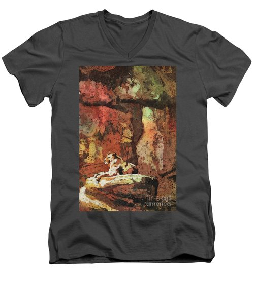 Men's V-Neck T-Shirt featuring the painting Short Reprieve by Ryan Fox
