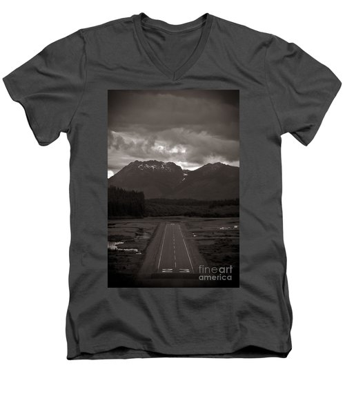 Short Runway Men's V-Neck T-Shirt by Darcy Michaelchuk