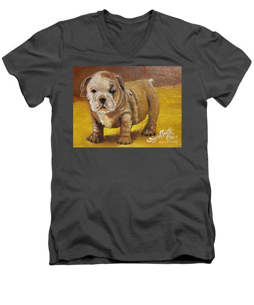 Men's V-Neck T-Shirt featuring the painting Shortstop by Sigrid Tune
