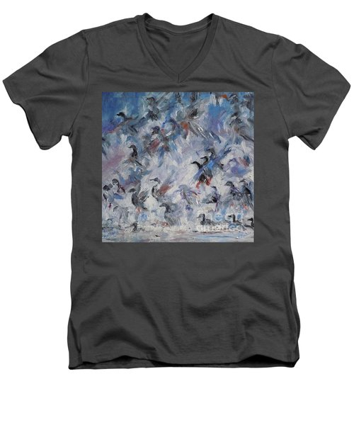 Men's V-Neck T-Shirt featuring the painting Shots Fired by Ellen Anthony